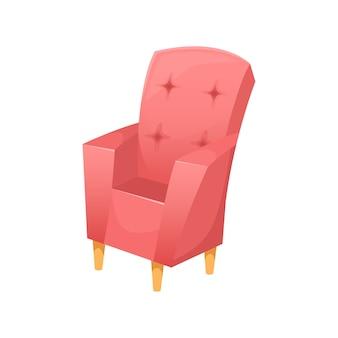 나무 다리가있는 세련된 아름다운 살이 포동 포동하게 찐 안락 의자.