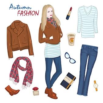 ファッショナブルな服の女性の構成