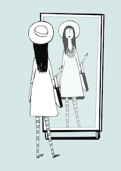 ファッショナブルな女の子が鏡に見えます。スタイリッシュでレトロなアクセサリーの帽子、ストライプのタイツ、ハンドバッグを持つ女性。手描きベクトルモノクロイラスト。