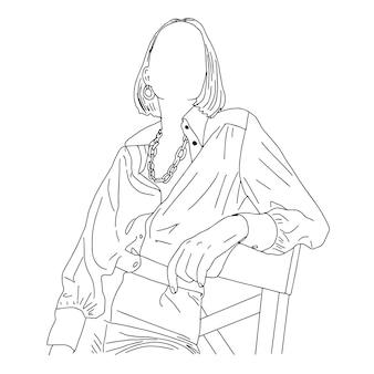 半数字の椅子に座っているファッショナブルな女の子。雑誌掲載用の直線スケッチ。図。