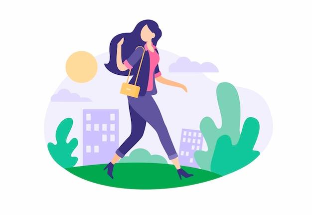 Модная девушка идет по улице. красивая женщина с роскошными волосами и дизайнерским костюмом идет на работу по зеленой аллее. ежедневно полезно для здоровья гулять на свежем воздухе в солнечную погоду. векторная иллюстрация плоский