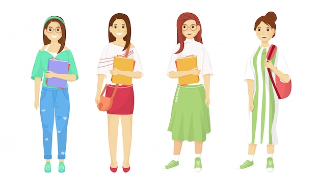 Fashionable girls character going to college concept.