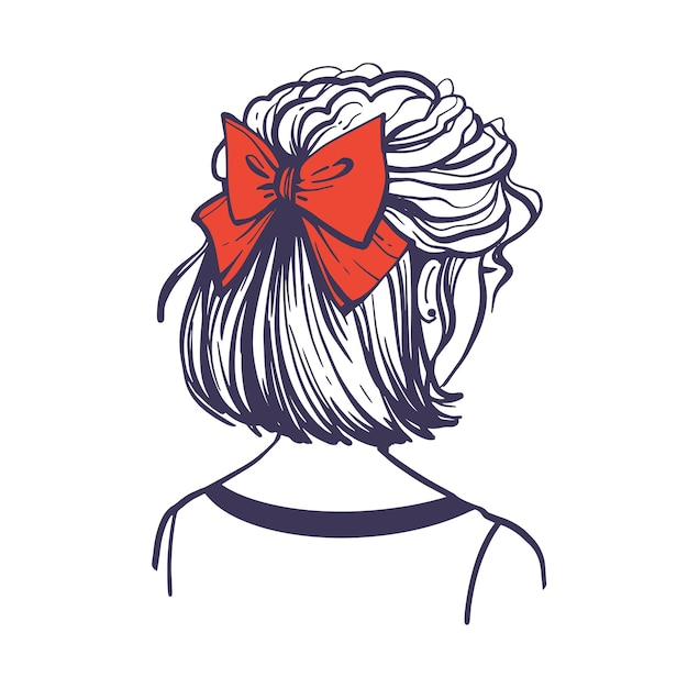 Fashionable hairstyle with a red hair bow. cute female hairstyle with hair accessory. back view. hand drawn vector illustration in doodle style isolated on white background.