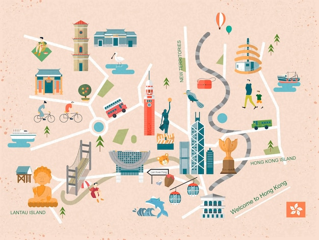 평면 디자인의 세련된 홍콩 여행 컨셉 지도