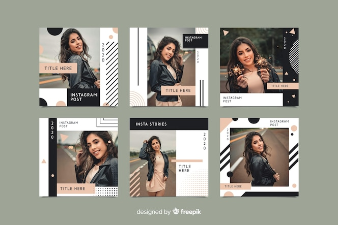 Fashionable instagram post template with photo