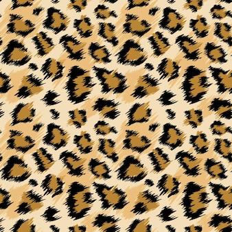ファッショナブルなヒョウのシームレスなパターン。ファッション、プリント、壁紙、ファブリックの定型化された斑点のあるヒョウの皮の背景。ベクトルイラスト