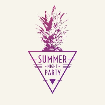 Модный современный плакат с ананасом, летняя вечеринка. векторная иллюстрация.