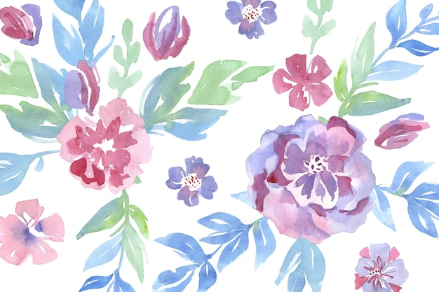 Fashionable pattern in watercolor flowers