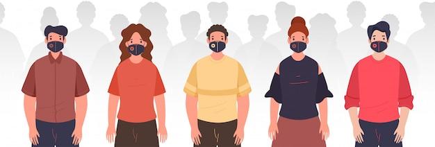 白い背景の上の医療マスクを着ているファッショナブルな人々。