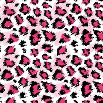 ファッショナブルなピンクのヒョウのシームレスなパターン。ファッション、プリント、壁紙、ファブリックの定型化された斑点のあるヒョウの皮の背景。ベクトルイラスト