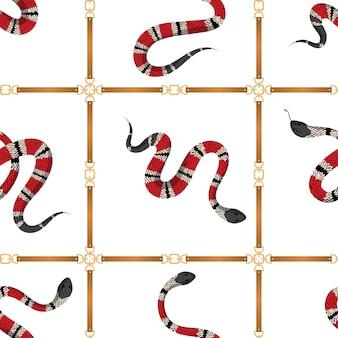 벨트와 열 대 뱀 유행 완벽 한 패턴입니다. 직물, 섬유, 벽지용 가죽 스트랩과 뱀이 있는 패션 배경. 벡터 일러스트 레이 션