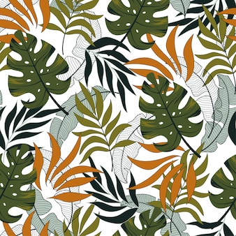 Fashionable seamless tropical pattern with beautiful orange and green leaves and plants