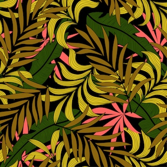 Fashionable seamless tropical pattern with bright beige plants and leaves on a dark background