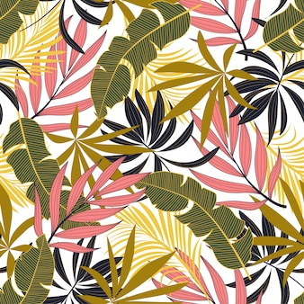 Fashionable seamless tropical pattern with bright pink and green flowers