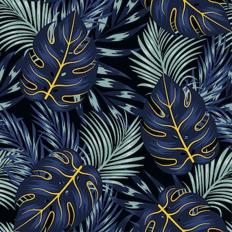 Fashionable seamless tropical pattern with bright plants and leaves on a black background