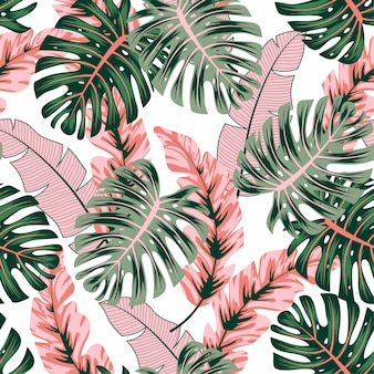 Fashionable seamless tropical pattern with bright plants and leaves