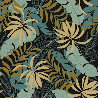 Fashionable seamless tropical pattern with bright red and blue plants and leaves