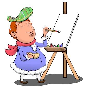 Fashionable street artist drawing at easel cartoon vector