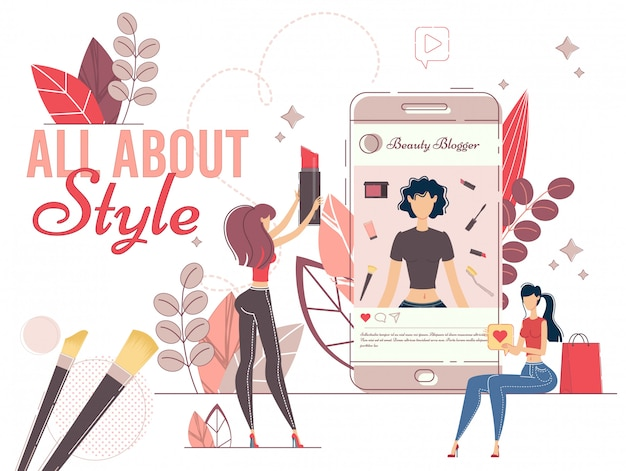 Fashionable style blogger in social media network