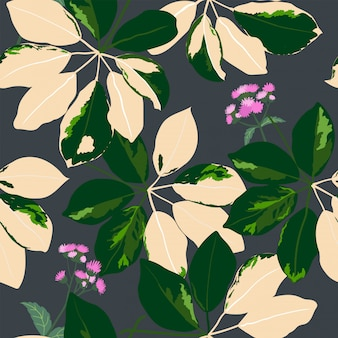 Fashionable tropical garden leaves with purple wildflowers seamless pattern