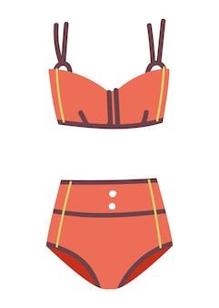 Fashionable women one piece sport swimsuit vector icon flat design style red bikini in retro