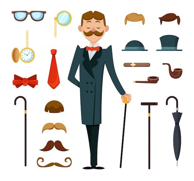 Модный ретро джентльмен с различными аксессуарами викторианского стиля Premium векторы