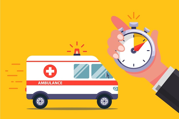 빠른 구급차가 환자에게 전화합니다. 플랫