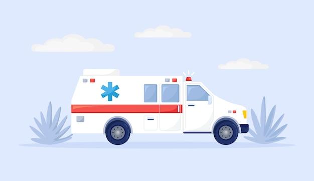 背景に分離された高速救急車救急車。メディックバン、緊急自動車。応急処置の概念。ベクトルフラットデザイン