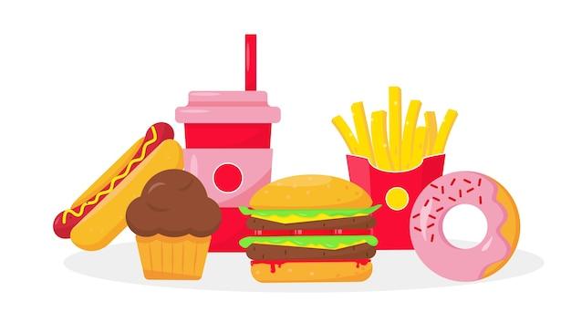 白い背景の上の高速で不健康な食品の概念。