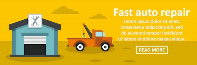 Fast auto repair banner horizontal concept