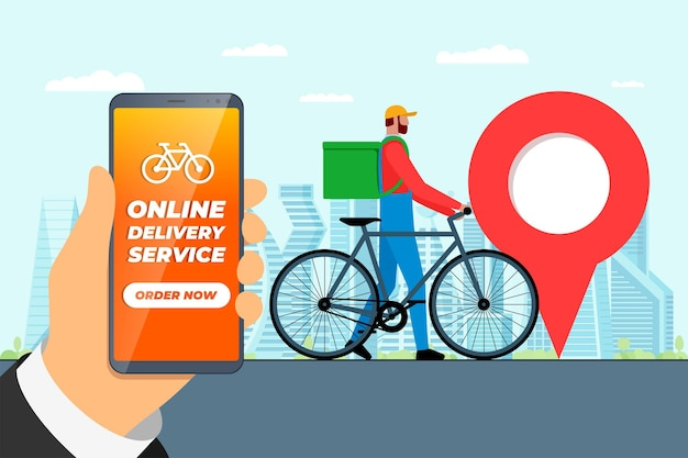 빠른 자전거 배달 주문 서비스 앱 개념입니다. 도시 거리에 지오태그 gps 위치 핀이 있는 스마트폰을 들고 배낭이 있는 특급 배송 택배. 온라인 응용 프로그램 벡터 eps