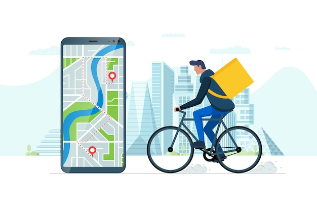 Fast bicycle delivery ordering service app concept. smartphone with geotag gps location pin on city street and ecological express food shipping courier with backpack. online application vector eps