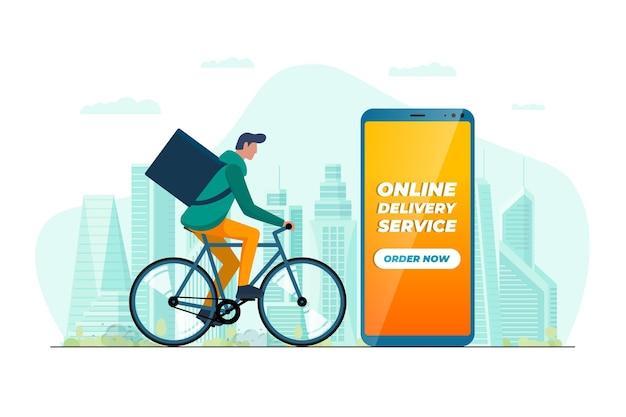 高速自転車オンライン配信サービスモバイルアプリのコンセプト。自転車に乗ってバックパックボックスと現代都市の背景に商品や食品パッケージを運ぶ若い男の宅配便。スマートフォンでエコオーダーを表現する