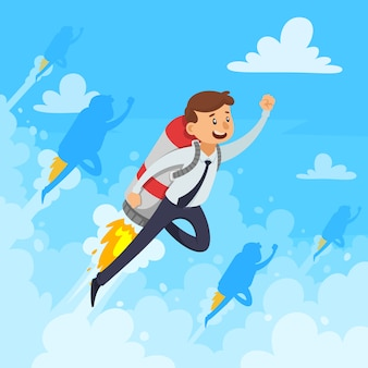 Fast career design concept with businessman and flying rocket white clouds smoke on blue background vector illustration
