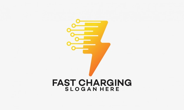 Fast charging logo template with thunder symbol