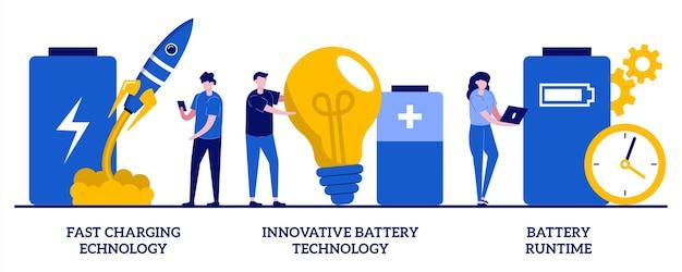 Технология быстрой зарядки, инновационная технология аккумуляторов, концепция времени автономной работы. емкость аккумулятора установлена. Premium векторы