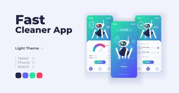빠른 청소기 앱 만화 스마트폰 인터페이스 벡터 템플릿 집합입니다. 모바일 앱 화면 페이지 주간 모드 디자인. 애플리케이션을 위한 스토리지 용량 및 생산성 관리 ui. 전화 디스플레이