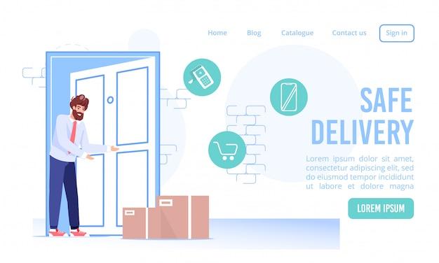 빠른 비접촉 안전 배송 서비스 랜딩 페이지. 출입구에서 골판지 상자 소포. 고객이 주문을 받고 있습니다. 스마트 폰 어플리케이션을 통한 온라인 쇼핑, 결제, 상품 배송. 디지털 기술
