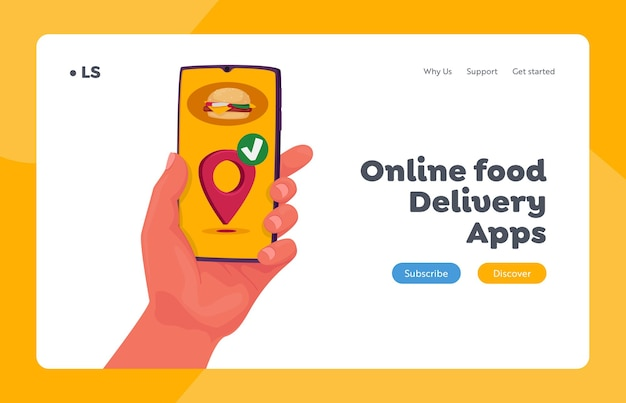Fast courier service landing page template. food delivery app in mobile phone. restaurant order online