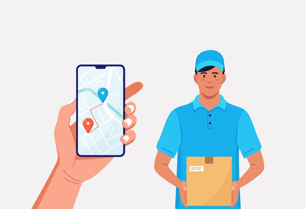 Fast courier with carton box. smartphone with mobile app for delivery tracking food or parcels. delivery man in uniform