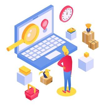 高速配信と信頼性の高いパッケージ商品、商品用ボックス、サービス輸送小包、漫画スタイルのイラスト。 Premiumベクター