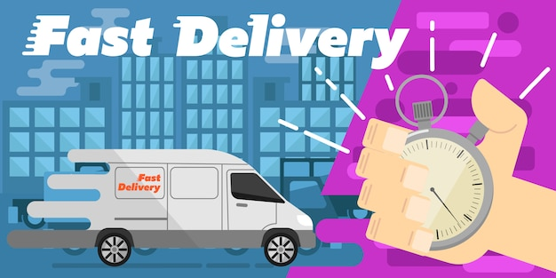 Fast delivery banner. commercial vehicle.
