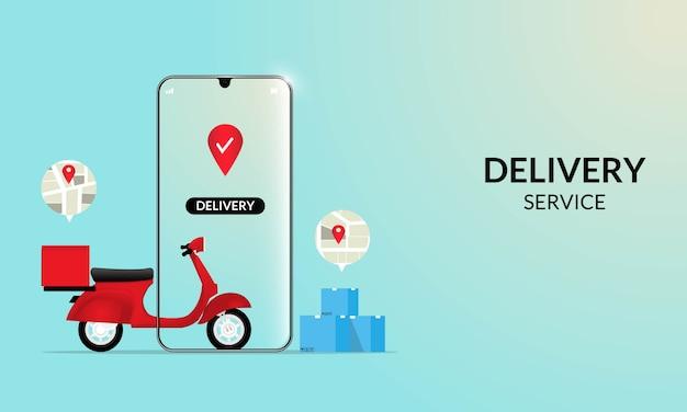Быстрая доставка самокатом на мобильный. концепция электронной коммерции. онлайн-заказ еды или пиццы и упаковочная коробка инфографики.