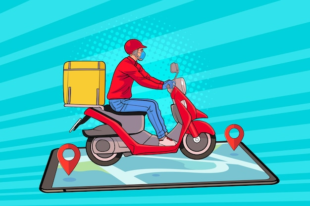 Fast delivery by scooter on smartphone tracking in retro vintage pop art comic style