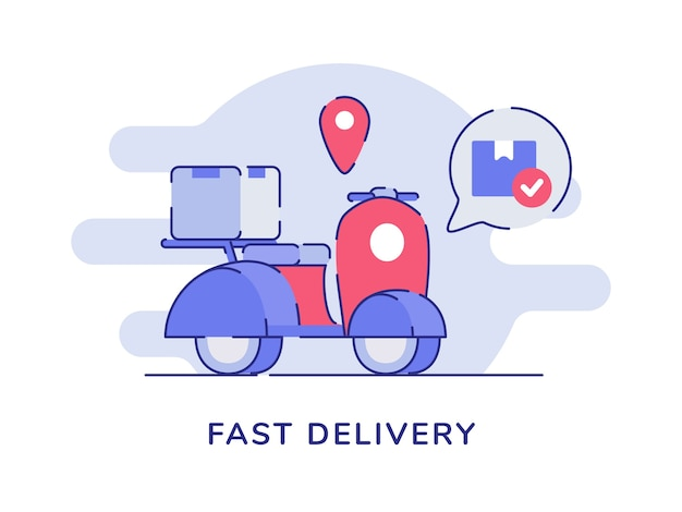 Fast delivery concept box package on scooter point location white isolated background