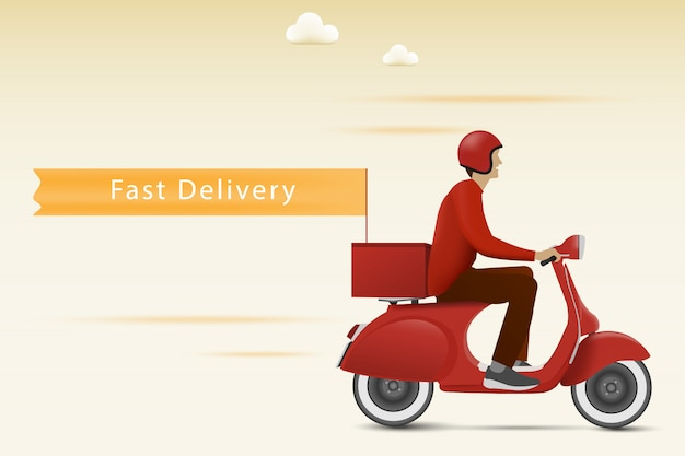 Fast delivery concept. delivery by red scooter with flag.
