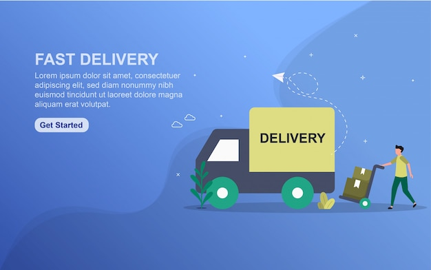 Fast delivery concept landing page template.