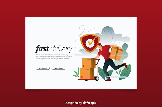 Fast delivery concept landing page