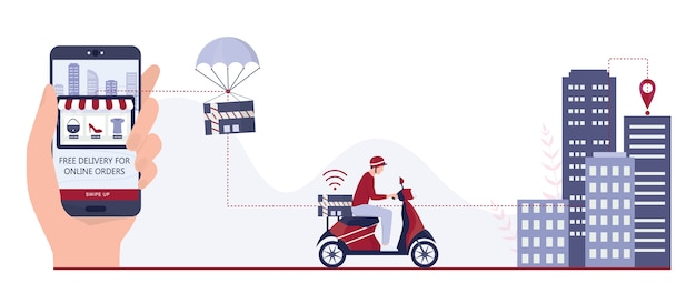Fast delivery concept. order in the internet. add to cart, pay by card and wait for courier. logistic and transportation of package to the home.   illustration isolated flat illustration