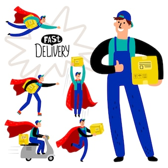 Fast delivery courier set